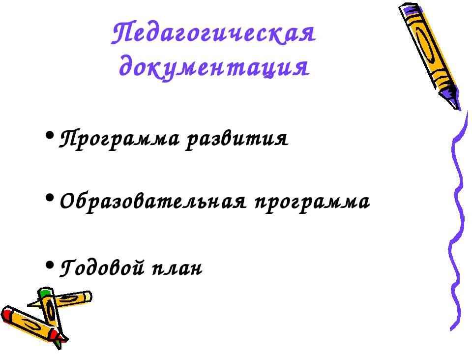 Педагогическая документация Программа развития Образовательная программа Годо...