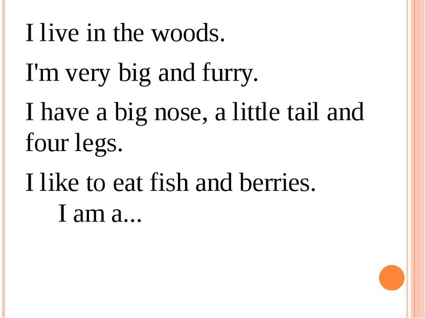 I live in the woods.  I'm very big and furry. I have a big nose, a little tai...