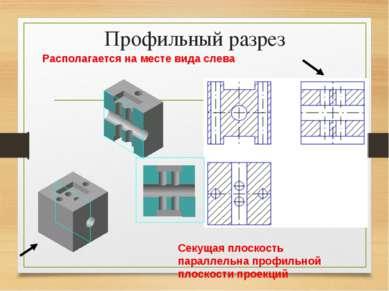 Профильный разрез Располагается на месте вида слева Секущая плоскость паралле...