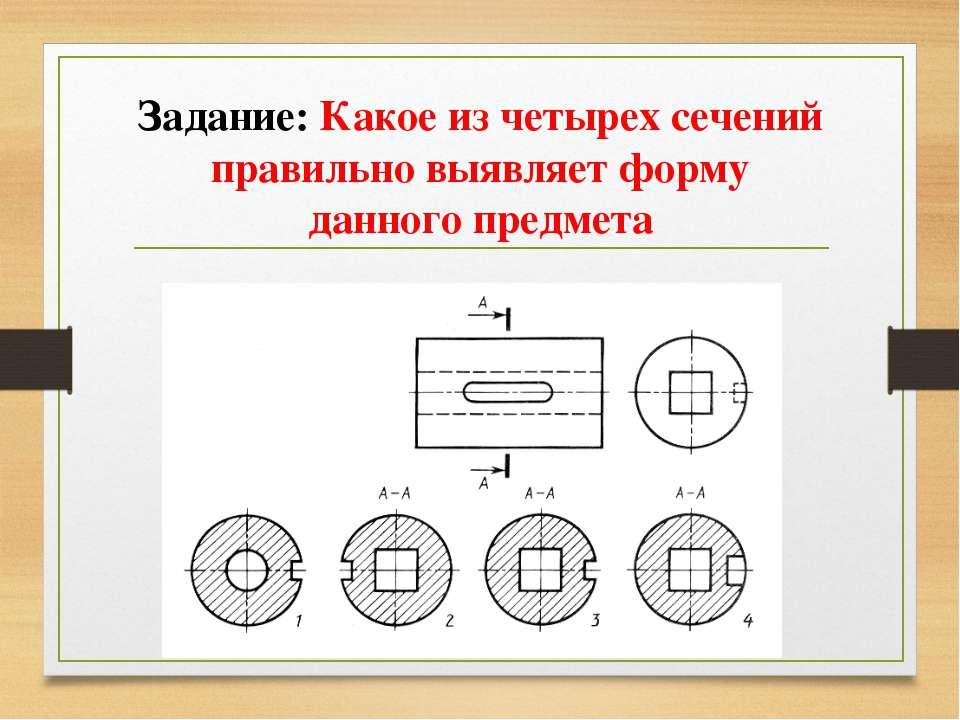 Задание: Какое из четырех сечений правильно выявляет форму данного предмета