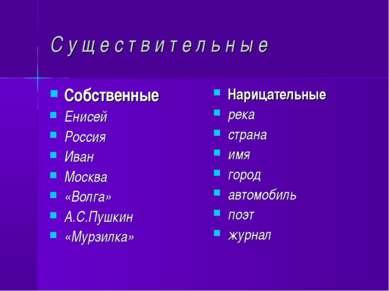 С у щ е с т в и т е л ь н ы е Собственные Енисей Россия Иван Москва «Волга» А...