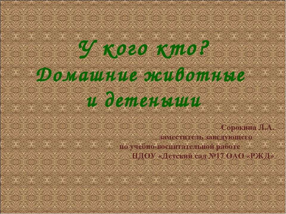 У кого кто? Домашние животные и детеныши Сорокина Л.А. заместитель заведующег...
