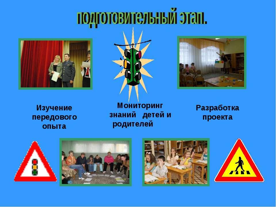 Мониторинг знаний детей и родителей Изучение передового опыта Разработка проекта