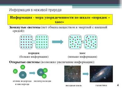* Информация в неживой природе Информация - мера упорядоченности по шкале «по...
