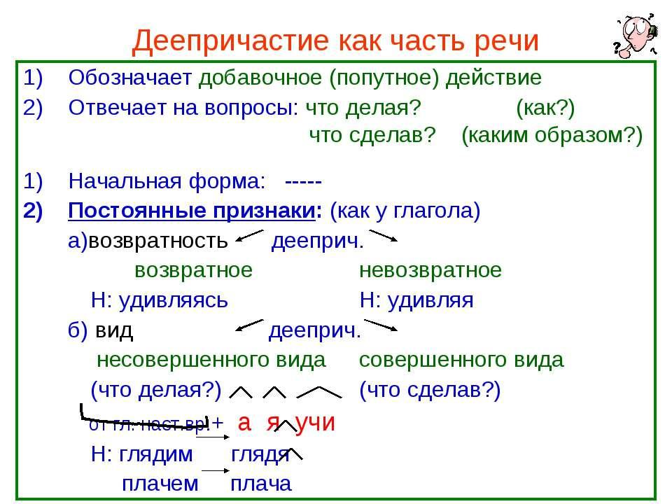 Деепричастие как часть речи Обозначает добавочное (попутное) действие Отвечае...