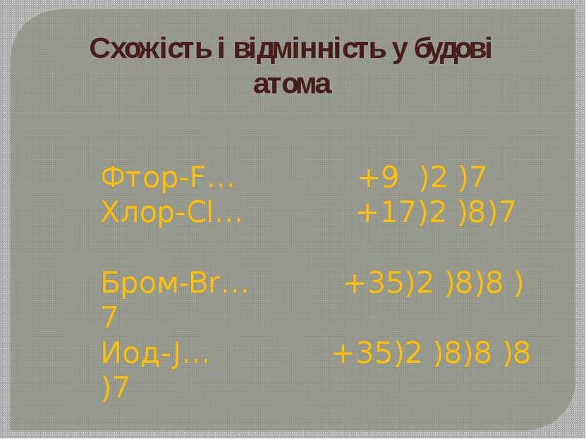 Схожість і відмінність у будові атома Фтор-F… +9 )2 )7 Хлор-Cl… +17)2 )8)7 Бр...