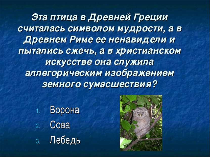 Эта птица в Древней Греции считалась символом мудрости, а в Древнем Риме ее н...