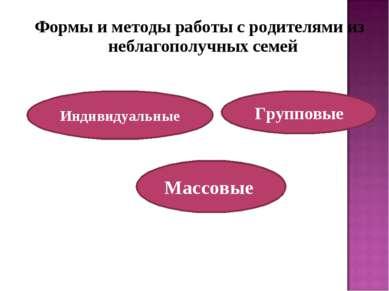 Формы и методы работы с родителями из неблагополучных семей Групповые Индивид...