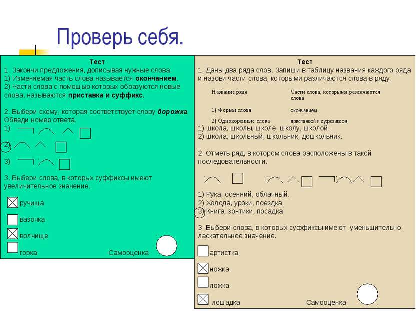 Проверь себя. Тест 1. Закончи предложения, дописывая нужные слова. 1) Изменяе...