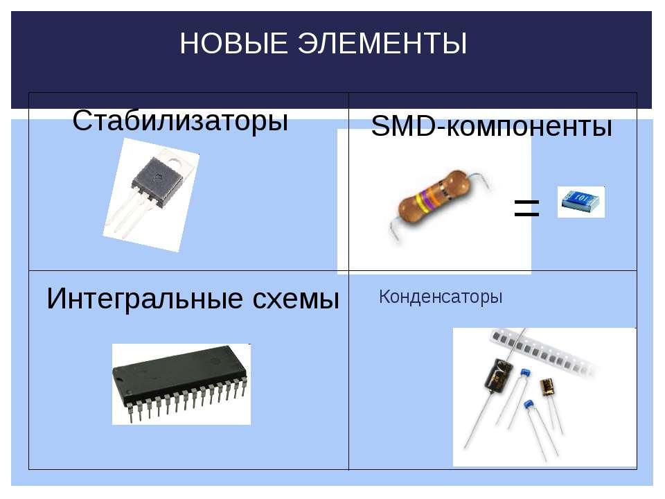 Конденсаторы НОВЫЕ ЭЛЕМЕНТЫ Стабилизаторы Интегральные схемы SMD-компоненты =