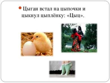 Цыган встал на цыпочки и цыкнул цыплёнку: «Цыц».