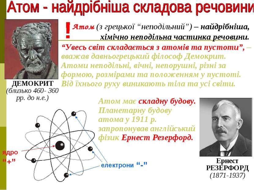 """ядро електрони """"+"""" """"-"""" Атом (з грецької """"неподільний"""") – найдрібніша, хімічно..."""