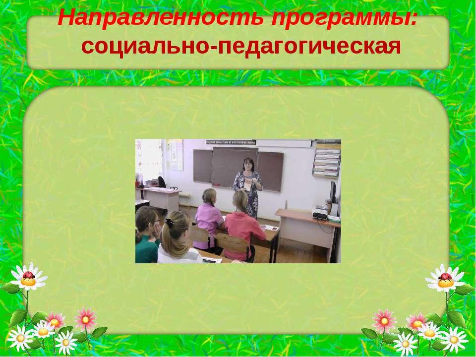 Направленность программы: социально-педагогическая