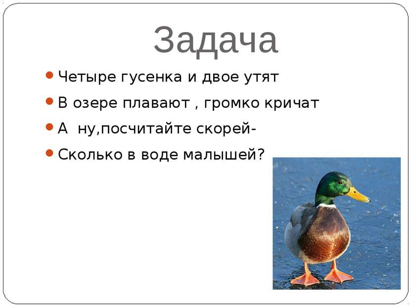 Задача Четыре гусенка и двое утят В озере плавают , громко кричат А ну,посчит...