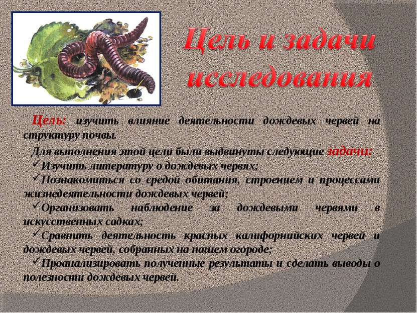 Цель: изучить влияние деятельности дождевых червей на структуру почвы. Для вы...