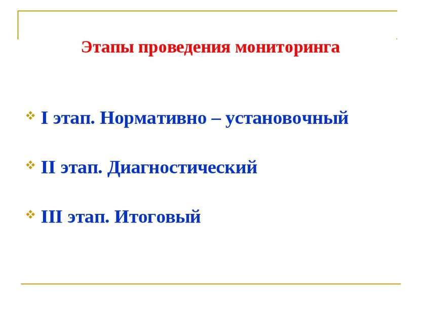 Этапы проведения мониторинга I этап. Нормативно – установочный II этап. Диагн...