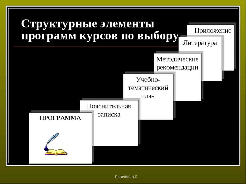 Структурные элементы программ курсов по выбору Приложение Литература Методиче...