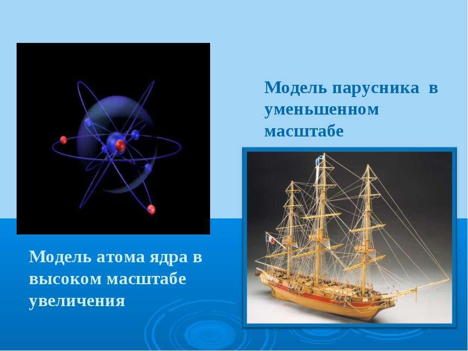 Модель парусника в уменьшенном масштабе Модель атома ядра в высоком масштабе ...
