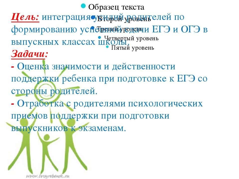 Цель:интеграция усилий родителей по формированию успешной сдачи ЕГЭ и ОГЭ в ...
