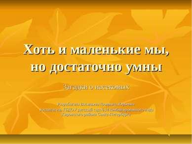 Хоть и маленькие мы, но достаточно умны Загадки о насекомых Разработала Васил...