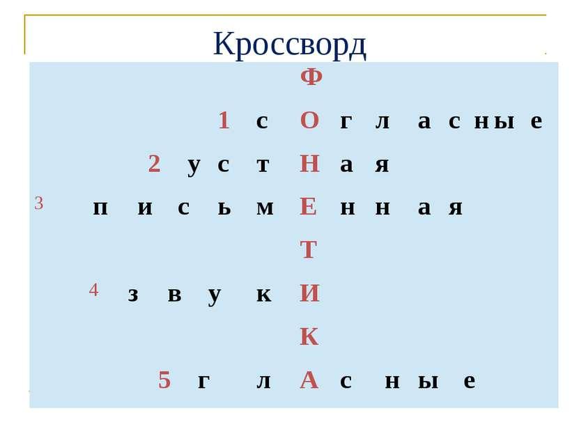 Кроссворд  Ф   1 с О г л а с н ы е  2 у с т Н а я  3 п и с ь м Е н н а я...