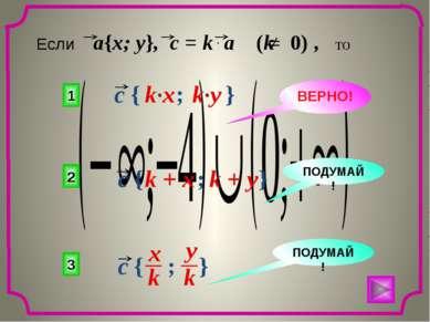 1 2 3 ВЕРНО! ПОДУМАЙ! ПОДУМАЙ! Если a{x; y}, c = k a (k 0) , то c { ; } x k y...