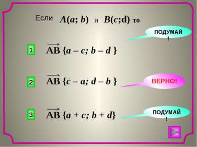 2 1 3 ПОДУМАЙ! ВЕРНО! ПОДУМАЙ! Если A(a; b) и B(c;d) то AB {a – c; b – d } AB...