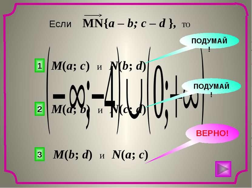 3 2 1 ВЕРНО! ПОДУМАЙ! ПОДУМАЙ! M(a; c) и N(b; d) M(a; b) и N(c; d) M(b; d) и ...