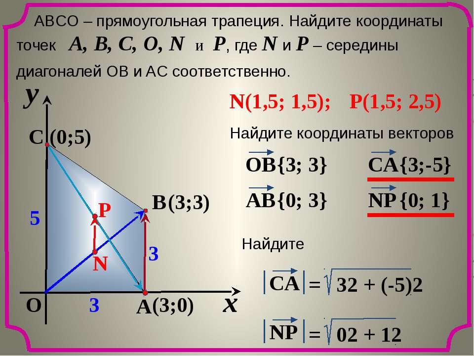 x y O A C B 5 3 3 ABCО – прямоугольная трапеция. Найдите координаты точек A, ...