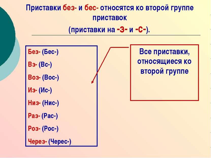 Приставки без- и бес- относятся ко второй группе приставок (приставки на -з- ...