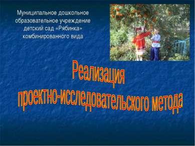Муниципальное дошкольное образовательное учреждение детский сад «Рябинка» ком...
