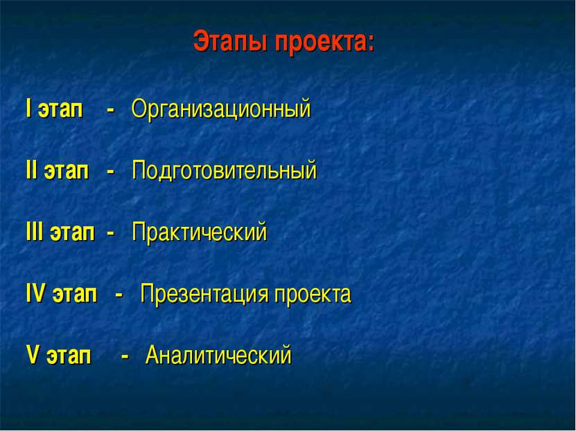 Этапы проекта: I этап - Организационный II этап - Подготовительный III этап -...