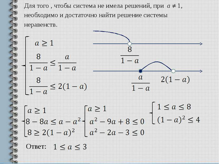 Для того , чтобы система не имела решений, при а 1, необходимо и достаточно н...