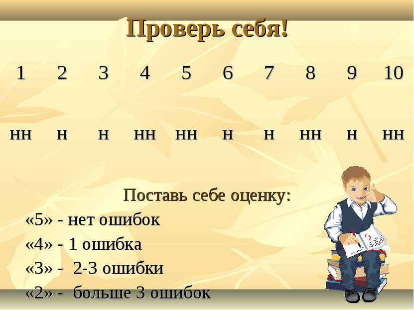 Проверь себя! Поставь себе оценку: «5» - нет ошибок «4» - 1 ошибка «3» - 2-3 ...