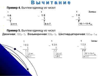 В ы ч и т а н и е Пример 4. Вычтем единицу из чисел         Пример 5....