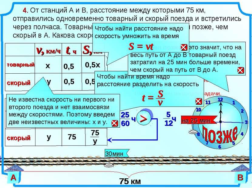 х 75 у 75 4. От станций А и В, расстояние между которыми 75 км, отправились о...