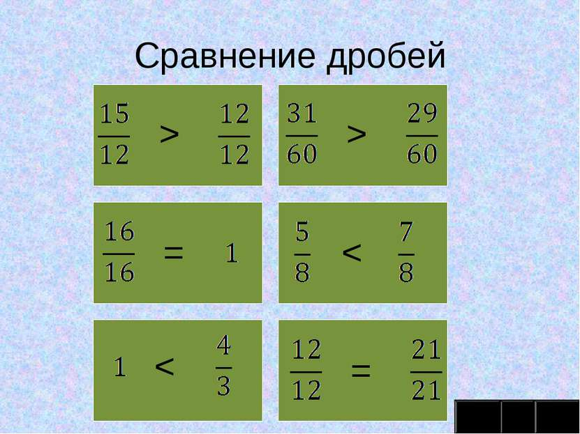 Сравнение дробей > > = < < =