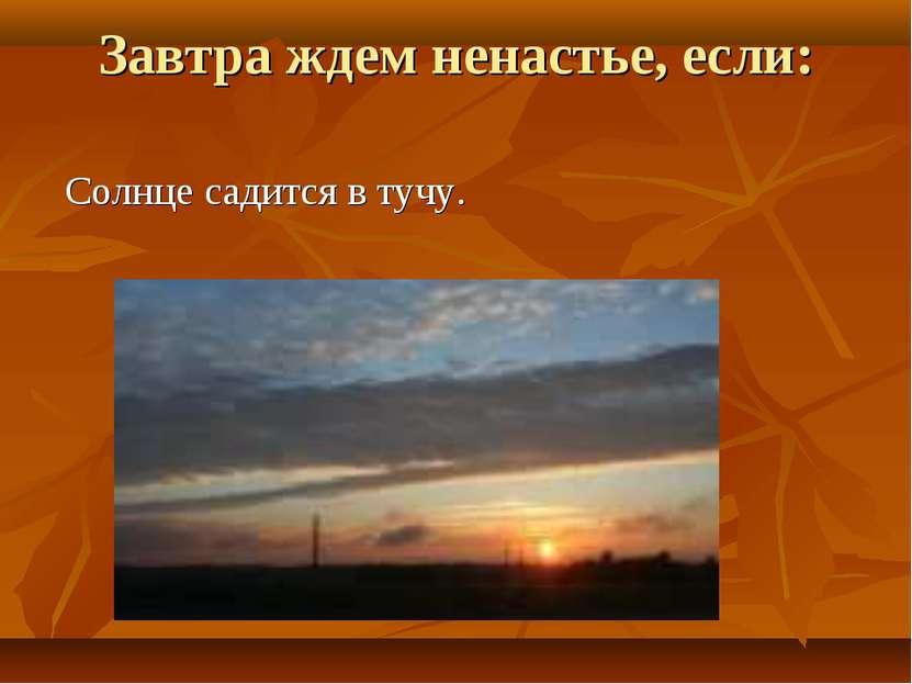 Завтра ждем ненастье, если: Солнце садится в тучу.