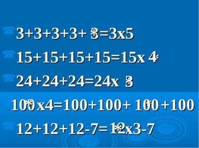 3+3+3+3+ =3x5 15+15+15+15=15x 24+24+24=24x x4=100+100+ +100 12+12+12-7= x3-7 ...