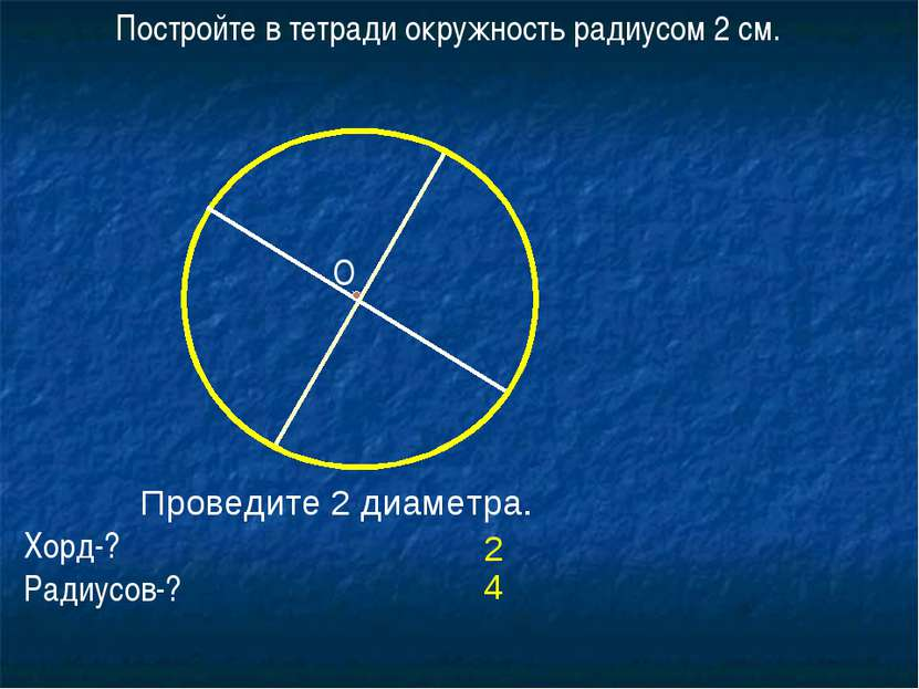 Постройте в тетради окружность радиусом 2 см. Проведите 2 диаметра. Хорд-? Ра...