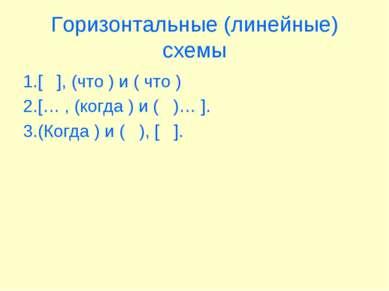 Горизонтальные (линейные) схемы 1.[ ], (что ) и ( что ) 2.[… , (когда ) и ( )...