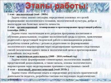 1 этап - аналитический (май –2009г) Задача этапа: анализ ситуации; определени...