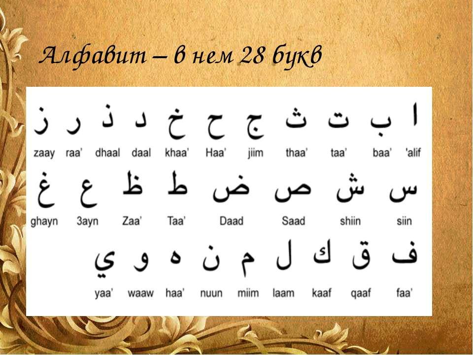 Алфавит – в нем 28 букв