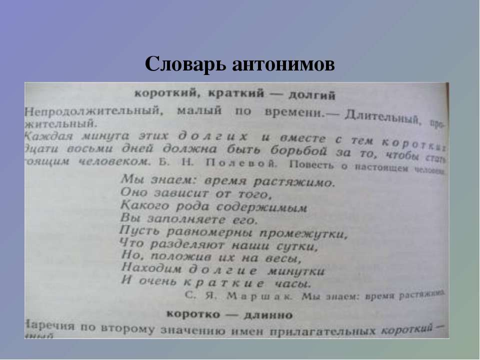 Словарь антонимов