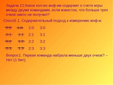 Задача 11:Какое кол-во инф-ии содержит о счете игры между двумя командами, ес...