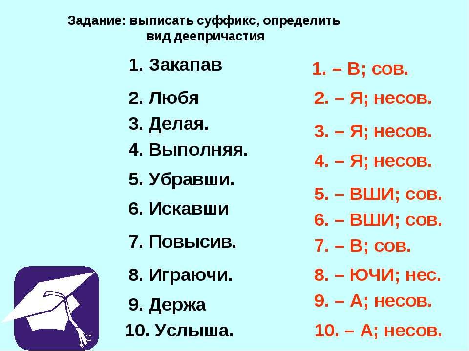 Задание: выписать суффикс, определить вид деепричастия 1. Закапав 2. Любя 3. ...