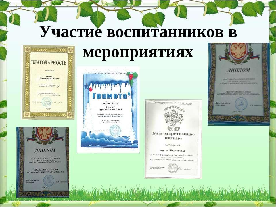 Участие воспитанников в мероприятиях