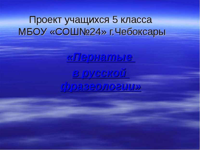 Проект учащихся 5 класса МБОУ «СОШ№24» г.Чебоксары «Пернатые в русской фразео...
