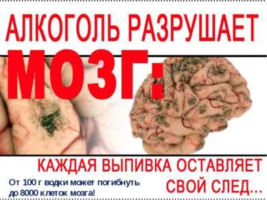 От 100 г водки может погибнуть до 8000 клеток мозга!