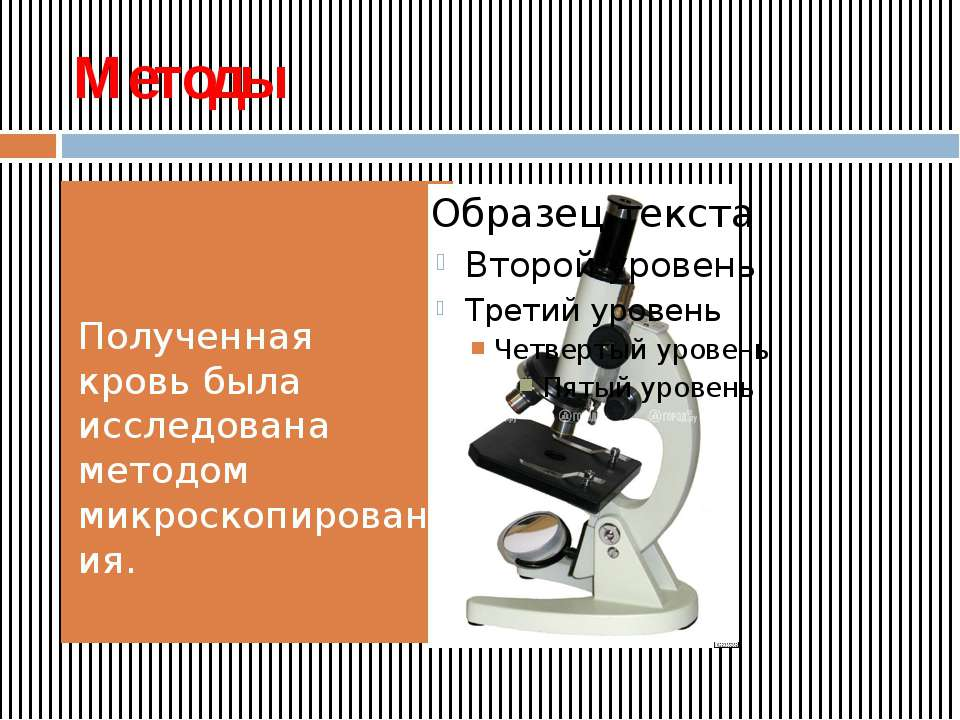 Методы Полученная кровь была исследована методом микроскопирования.